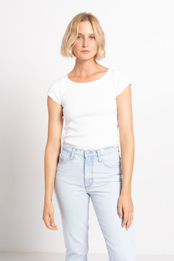 90S SCOOP NECK FITTED RIB WHITE - AGOLDE