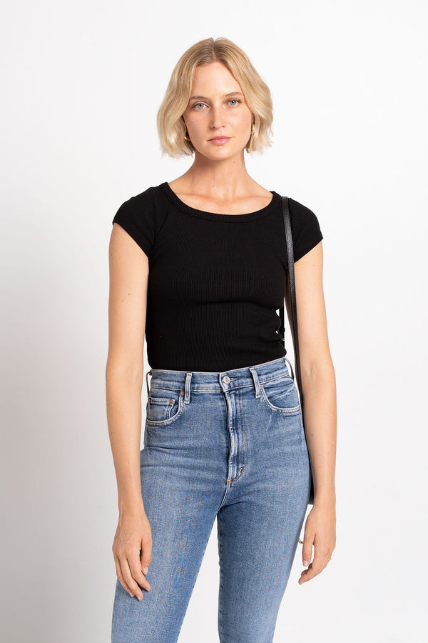 90S SCOOP NECK FITTED RIB BLACK - AGOLDE