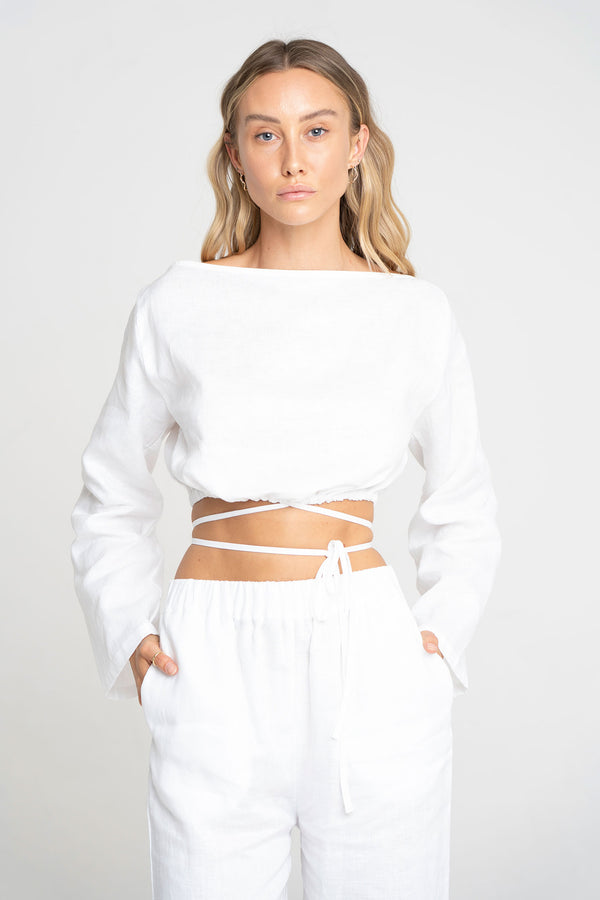 HELEN BOATNECK TOP WHITE - SARA FOX THE LINE