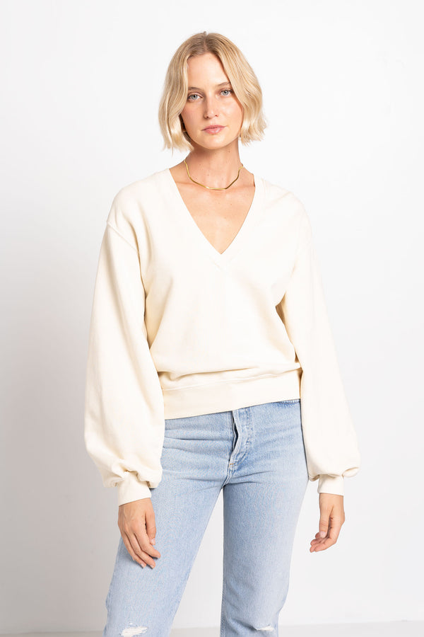 V-NECK BALLOON SLEEVE SWEATSHIRT - AGOLDE