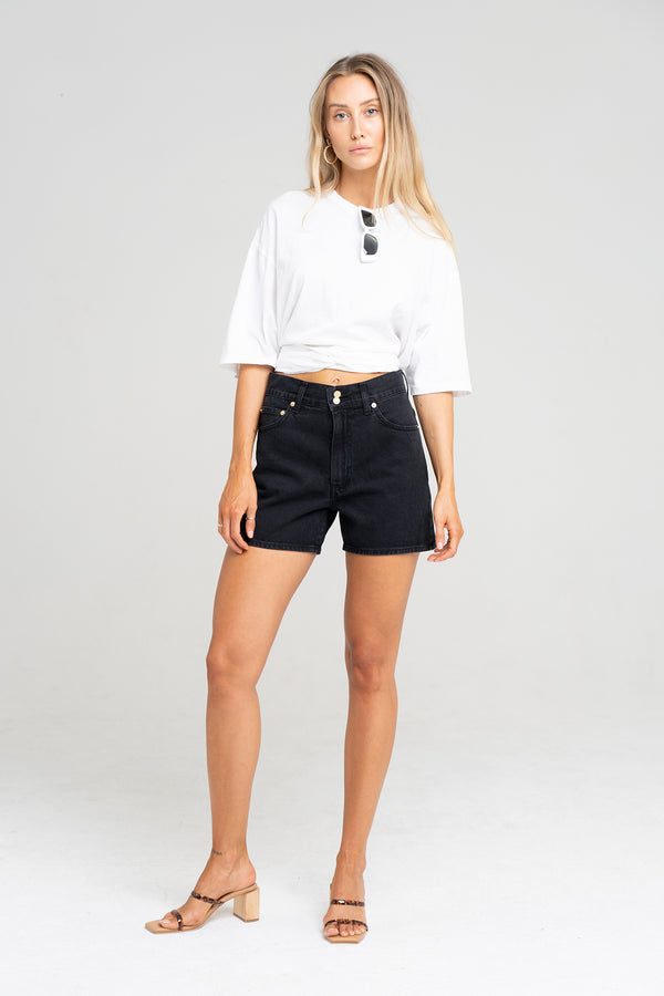 SOLANGE SHORT VINTAGE BLACK - SARA FOX THE LINE