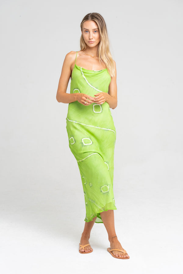 KAIA SLIP DRESS LIME TIE DYE - SARA FOX THE LINE