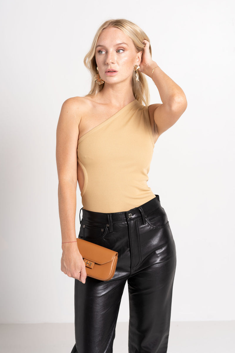 ONE SHOULDER CUTOUT TOP TAN - CHRISTOPHER ESBER