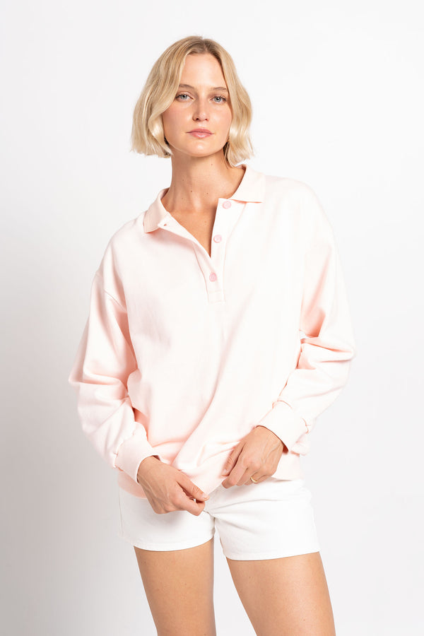 COLLARED SWEAT TOP BABY PINK - SARA FOX THE LINE