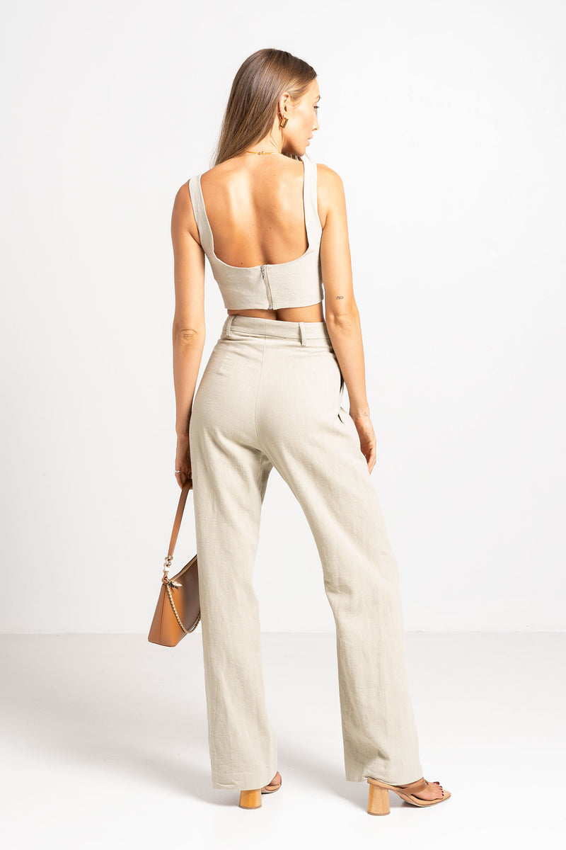 PHOEBE PANT LIGHT KHAKI - BEC + BRIDGE