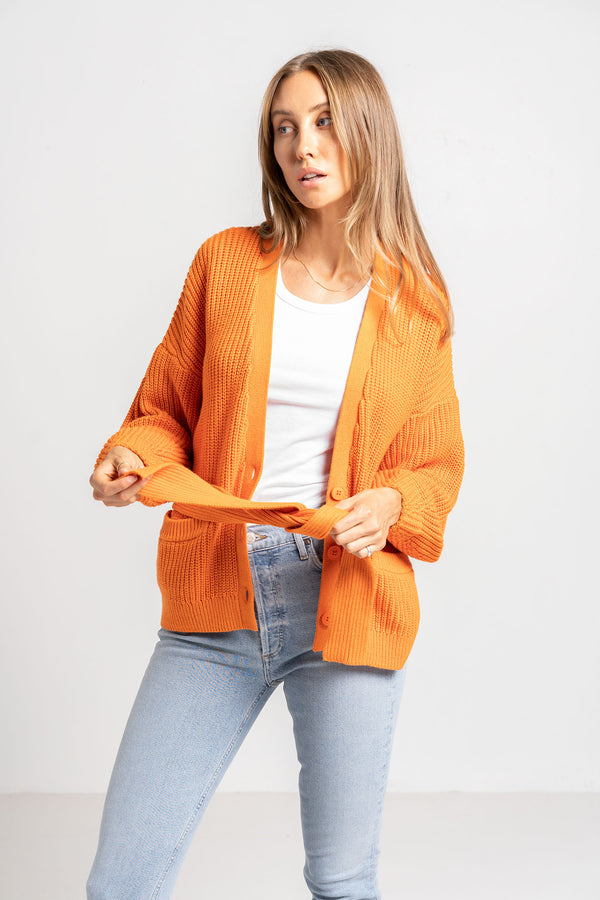 DILEMMA CARDIGAN JAFFA ORANGE - VIKTORIA + WOODS