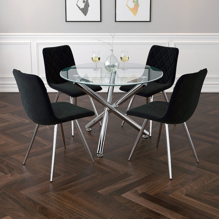 "SOLARA II-DINING TABLE, 40""dia-CHROME"