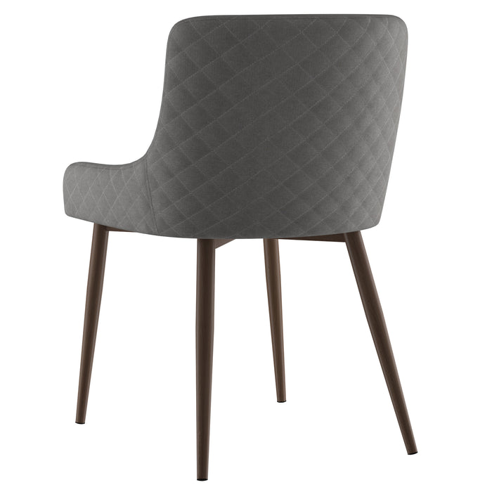 BIANCA-SIDE CHAIR-GREY/WALNUT LEG, SET OF 2