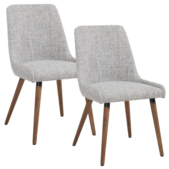 MIA-SIDE CHAIR-LIGHT GREY/GREY LEG, SET OF 2