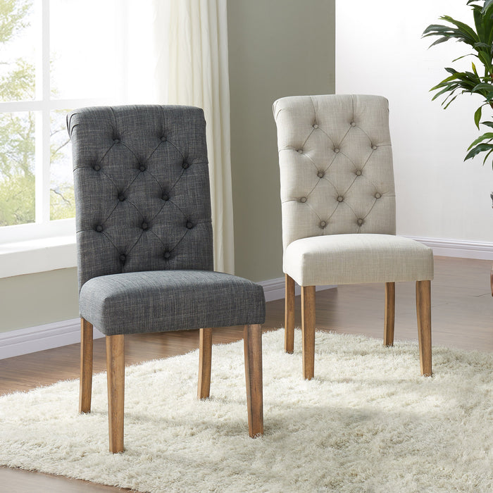 MELIA-SIDE CHAIR-BEIGE, SET OF 2