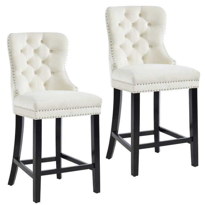 RIZZO-26'' COUNTER STOOL-IVORY, SET OF 2