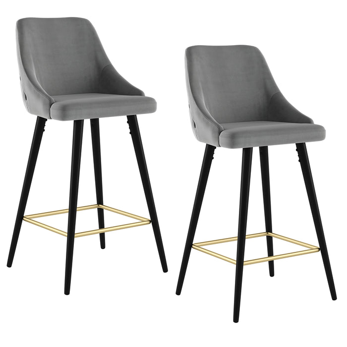 ROXANNE II-26'' COUNTER STOOL-GREY, SET OF 2