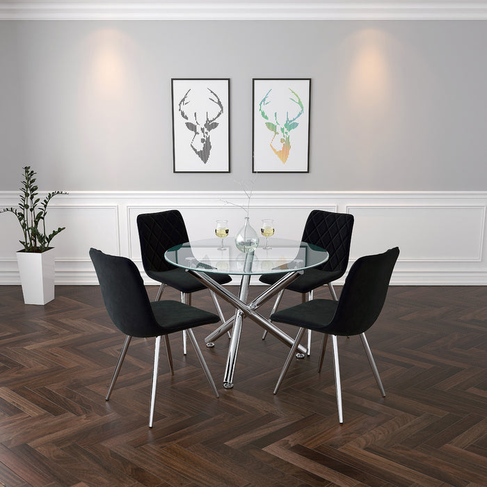 SOLARA II/MARLO BK- 5PC DINING SET