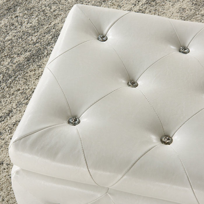 MONIQUE-STORAGE OTTOMAN-WHITE