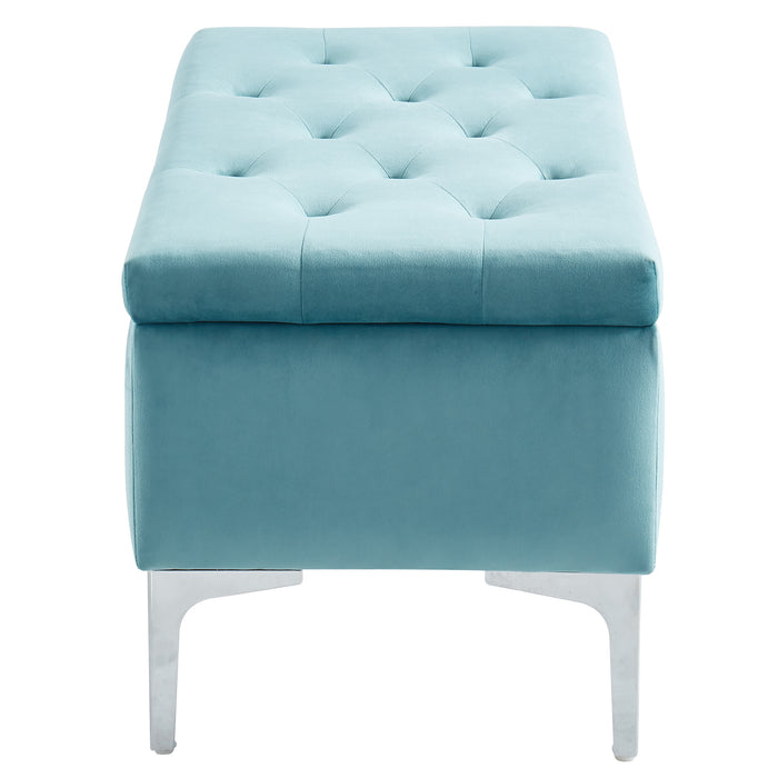 CLARE-STORAGE OTTOMAN-TEAL/SILVER
