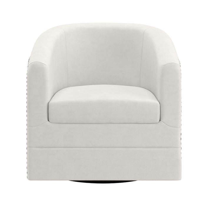 VELCI-SWIVEL ACCENT CHAIR-IVORY