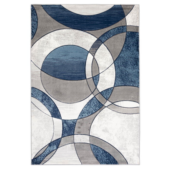 BRISTOL 5031 GREY/NAVY/TURQUOISE AREA RUG
