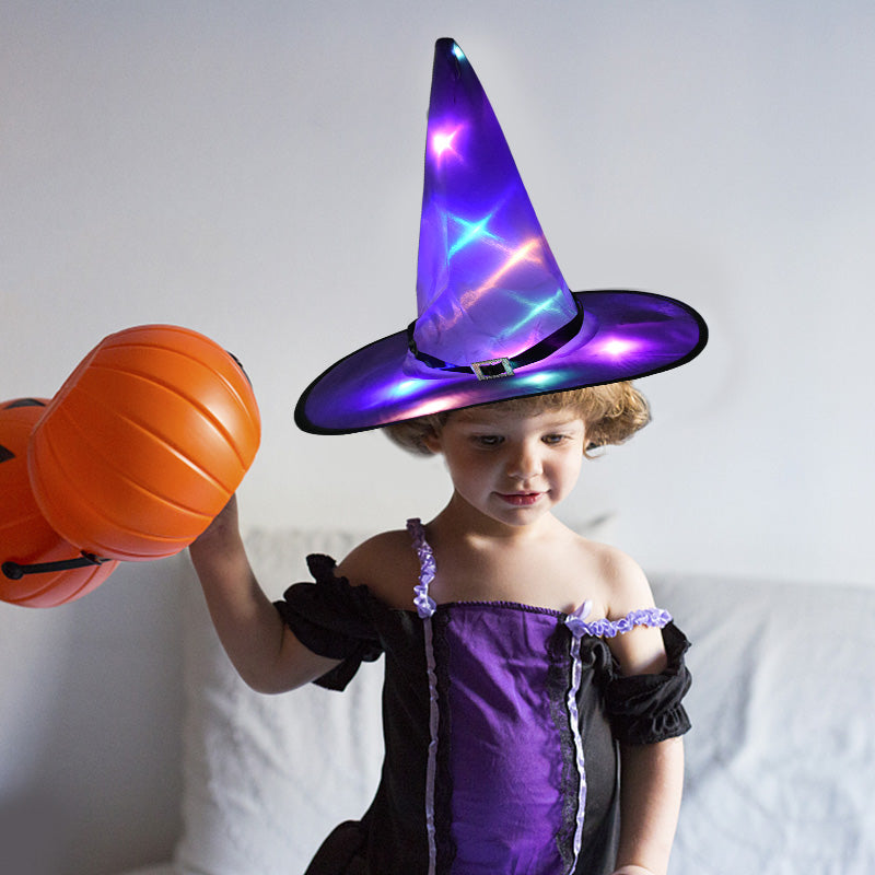 🎃HALLOWEEN Decorations Glowing Witch Hat Decorations - 2 in 1 Hanging/Wearable
