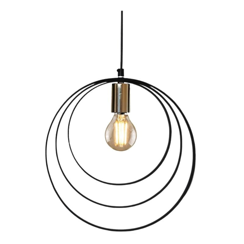 Halo 3 Ring Black and Gold Pendant Light - Lighting.co.za