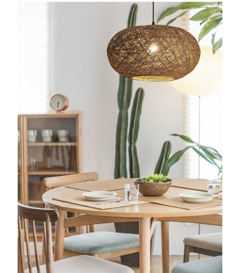 Habitat Flat Round Brown Or White Twine String Pendant Light 2 Sizes - Lighting.co.za