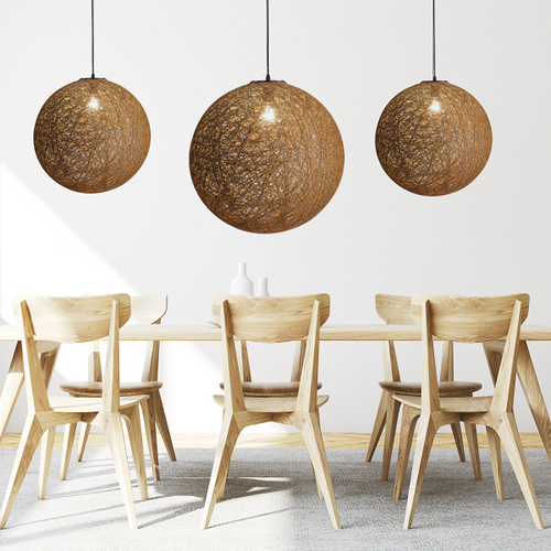 Habitat Natural Brown Twine Ball Pendant Light 3 Sizes - Lighting.co.za