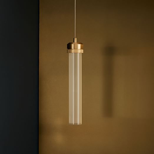 Luxuria Fluted Clear Glass and Brass LED Pendant Light - Lighting.co.za