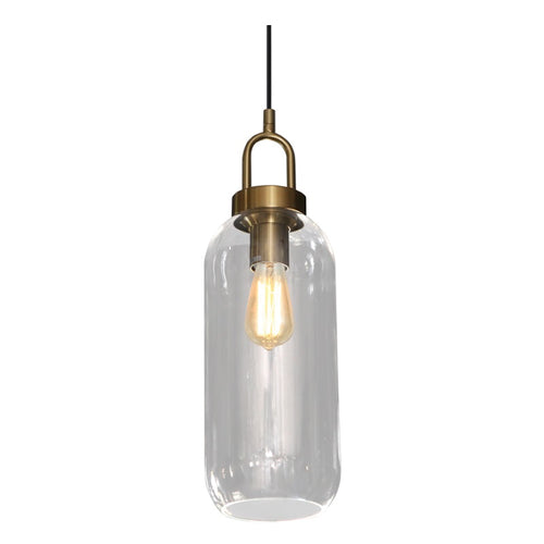 Ebbe Tall Clear and Antique Brass Pendant Light - Lighting.co.za