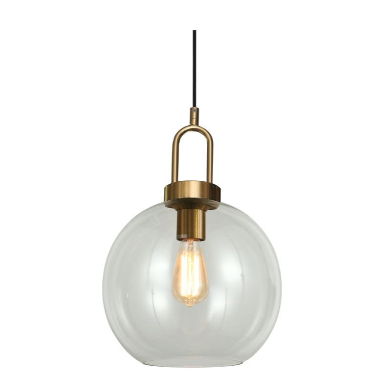 Ebbe Round Clear and Antique Brass Pendant Light - Lighting.co.za