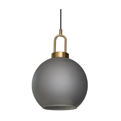 Ebbe Round Smoke Grey Glass and Antique Brass Pendant Light - Lighting.co.za