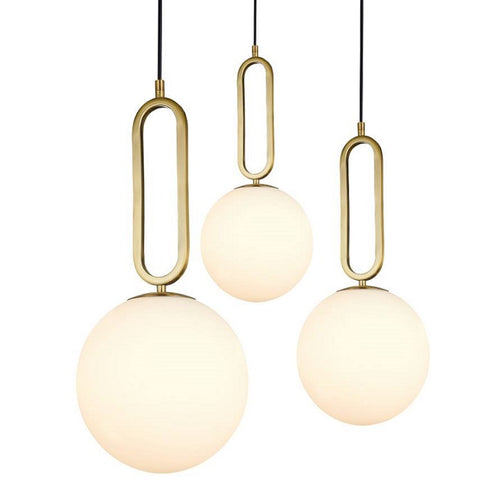 Croquet Brass And Opal White Glass Pendant Light In 3 Sizes - Lighting.co.za