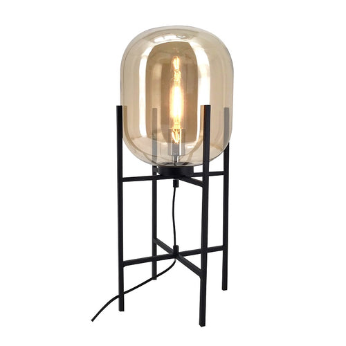 Pedestal Black And Amber Glass Table Lamp - Lighting.co.za