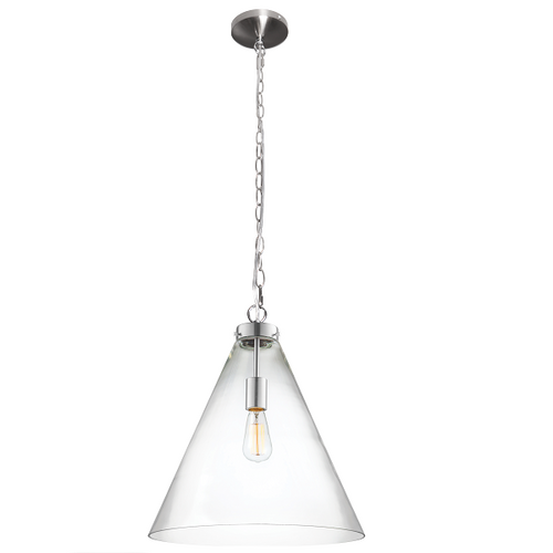 Belmont Large Clear Glass Chrome Funnel Pendant Light - Lighting.co.za