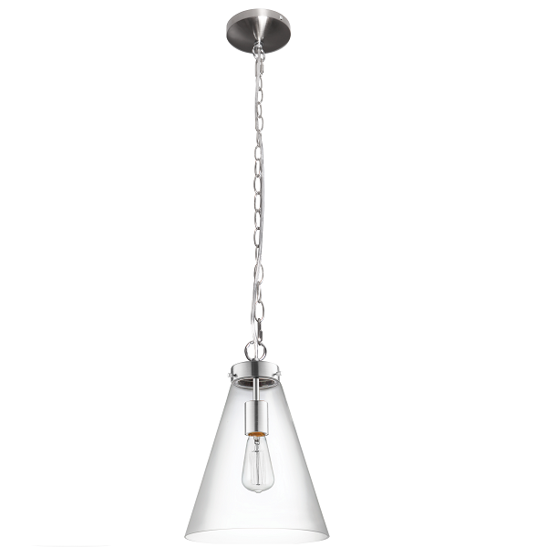 BELMONT SMALL CLEAR GLASS CHROME FUNNEL PENDANT - Lighting.co.za
