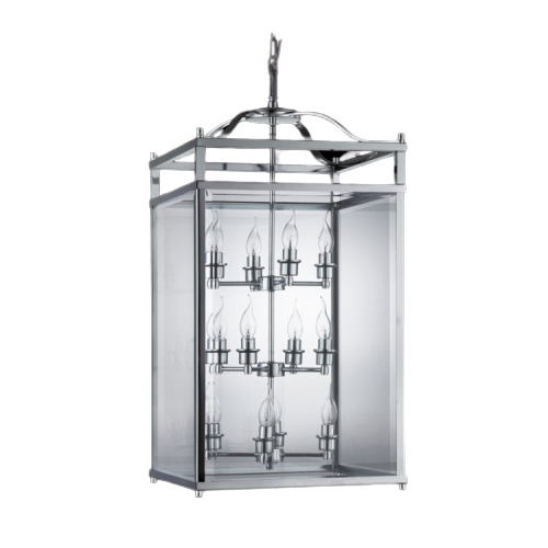 Beveled Classic Chrome And Glass Square Lantern in 2 Sizes - Lighting.co.za