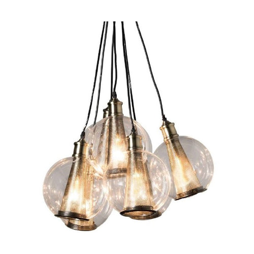Bisbee 7 Light Black And Brass Cluster Glass Pendant Light - Lighting.co.za