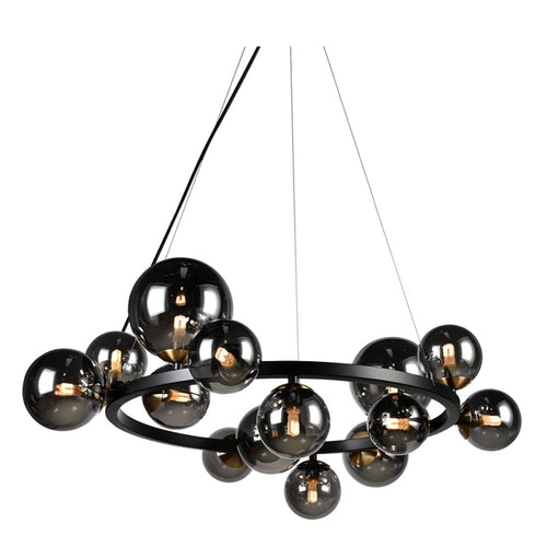 Bubble Round 14 Light Black And Smoke Glass Pendant Light - Lighting.co.za