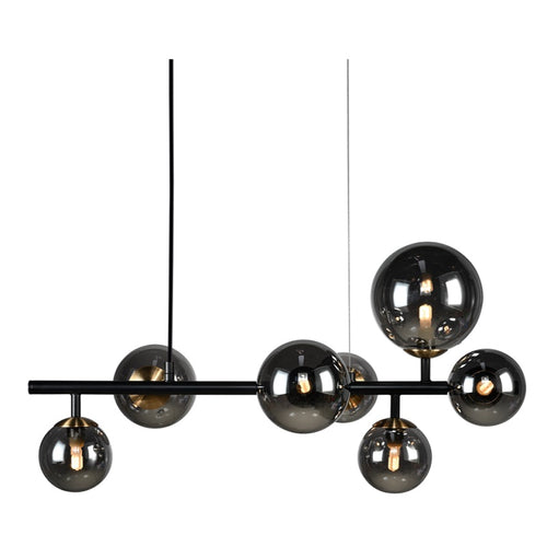 Bubble 7 Light Sphere And Stem Black And Smoke Glass Pendant Light - Lighting.co.za