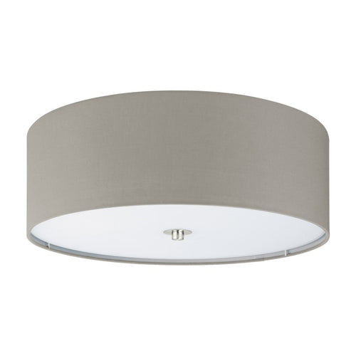 Pasteri Taupe Fabric Drum Ceiling Light - Lighting.co.za