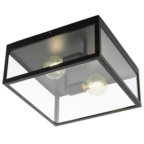 Charterhouse Black And Clear Glass 2 Light Ceiling Light - Lighting.co.za