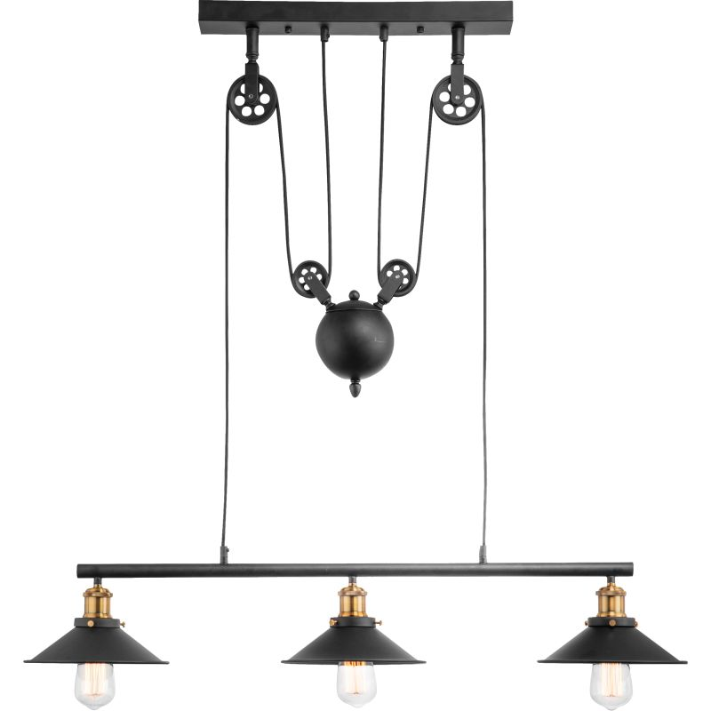 Hinkley Trio 3 Light Height Adjustable Black And Brass Pendant Light - Lighting.co.za