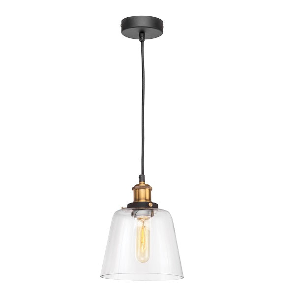 Hazel Clear Glass And Antique Brass Pendant Light - Lighting.co.za