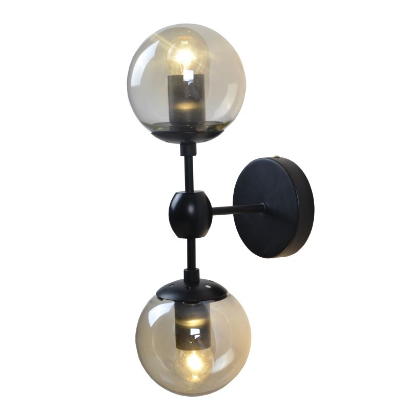 Art Deco 2 Light Black And Amber Glass Wall Light - Lighting.co.za