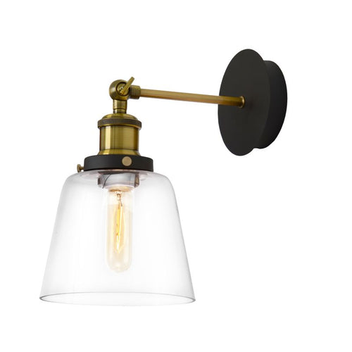 Carrington Clear Glass And Brass Vintage Wall Light - Lighting.co.za