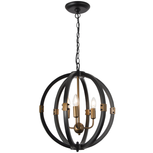 Orb Round Black And Brass 3 Light Chandelier - Lighting.co.za
