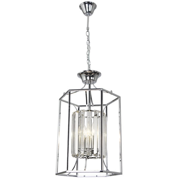 Ziva Chrome And Clear Crystal 3 Light Chandelier - Lighting.co.za