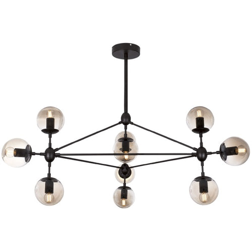 Molecule 10 Light Black and Amber Glass Pendant Light - Lighting.co.za