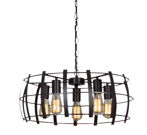 Folio Round 5 Light Black Chandelier - Lighting.co.za