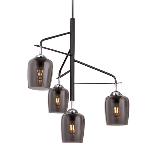 Exos 4 Light Black And Smoke Glass Chandelier - Lighting.co.za
