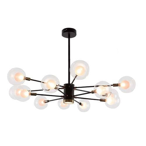 Modo 12 Light Black And Glass Chandelier - Lighting.co.za