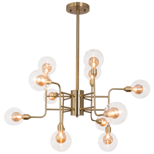 Ambrose Antique Brass Or Satin Chrome 12 Light Chandelier - Lighting.co.za